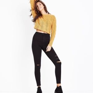 Black high rise ripped distressed jeans